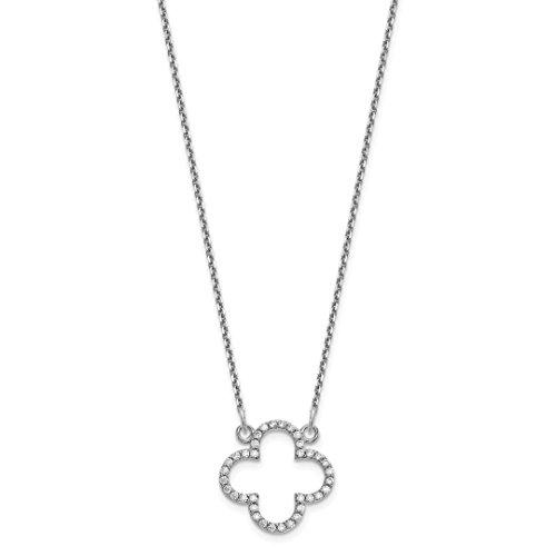 14k White Gold Small Chain Necklace Diamond Quatrefoil Design Pendant Charm Contemporary Fine Jewelry For Women Gift ()