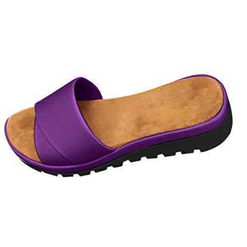 (Kawaiine Women's Elatica Flats Shallow Elastic Ankle Strap Flat Sandals Beach Shoes Purple)