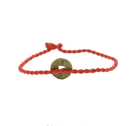 Handmade Replica Old Chinese Coin Red String Bracelet, Kabbalah Red String Bracelet A-5