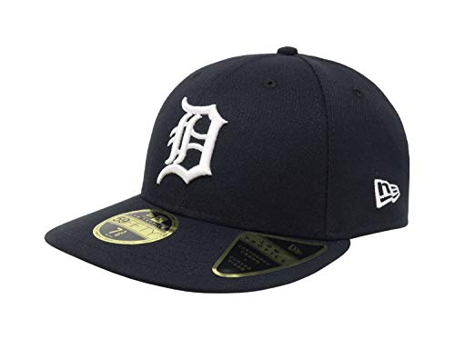 New Era 59Fifty Hat MLB Detroit Tigers Low Profile Crown Home Baseball Fitted Cap (7 5/8) Navy Blue