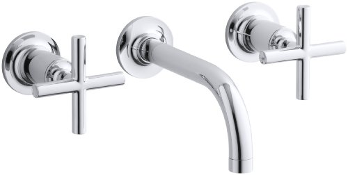 KOHLER K-T14412-3-CP Purist Two-Handle Wall-Mount Faucet Trim, Polished Chrome