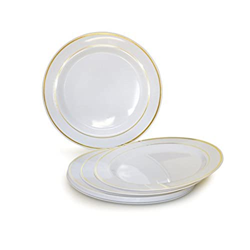 OCCASIONS 120 PACK Heavyweight Disposable Wedding Party Plastic Plates (6u0027u0027 Dessert/Bread Plate White/Gold Rim)  sc 1 st  Amazon.com : plastic plates bulk cheap - pezcame.com