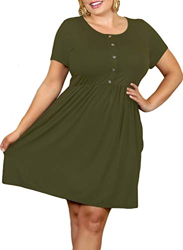 115aec4b02f Itsmode Women s Short Sleeve Casual T-Shirt Dress Button Down Plus Size  Loose Swing Dress