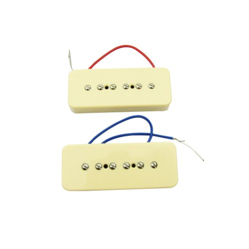 Musiclily P-90 Soapbar 52MM Bridge and 50MM Single coil Neck Pickups Set for Gibson Les Paul Guitar, Cream