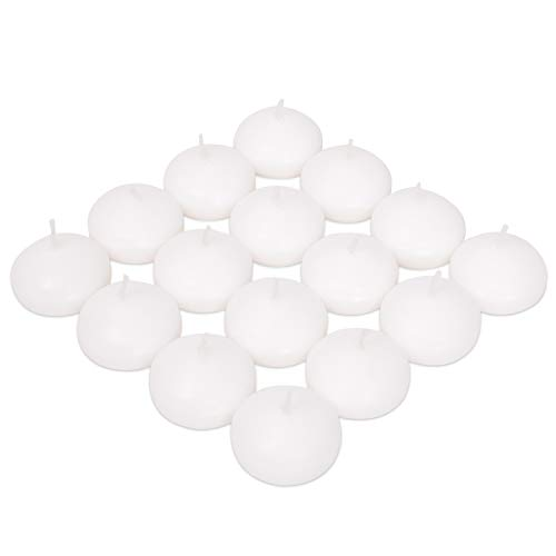 Exquizite Floating Candles for Centerpieces - Bulk Pack of 16 White Unscented Long Burning (4 hrs) Discs - 2 inch Diameter - for Weddings, Christmas Holiday Dinners, Home Decor and Special Occasions (Holder Ball Candle Pool)