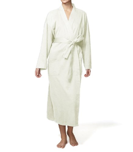 Pure Fiber Organic Knit Bathrobe, Ecru - Jersey Knit Bath Robe