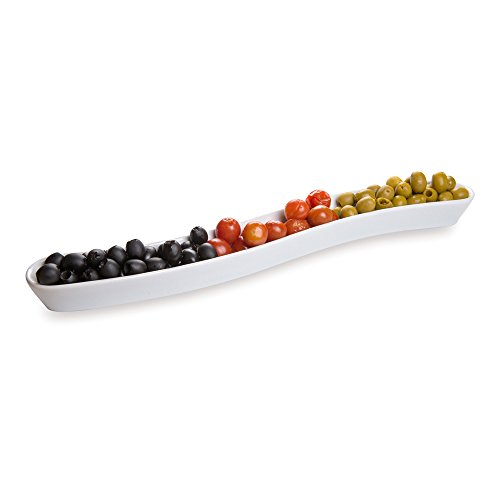 - White Porcelain Olive Plate - Swerve Design, Beautiful Presentation - 16 Inches - 14 oz - 1ct Box - Restaurantware