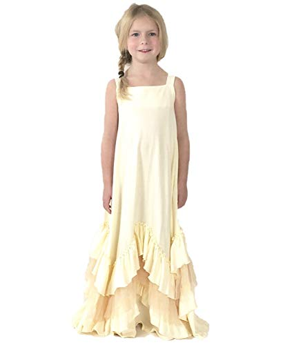 Jennifer and June Boho Beauty Tulle Ruffle Maxi Dress for Girls (2T - 3T, Ivory)