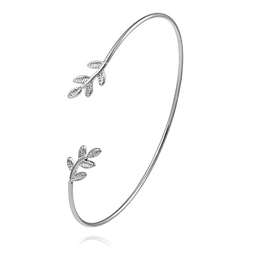 NOUMANDA Olive Leaf Branch Wire Bangle Adjustable Open Cuff Bracelet for Women (Silver)
