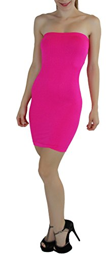 ToBeInStyle Women's Seamless Strapless Tube Dress (Hot Pink) -