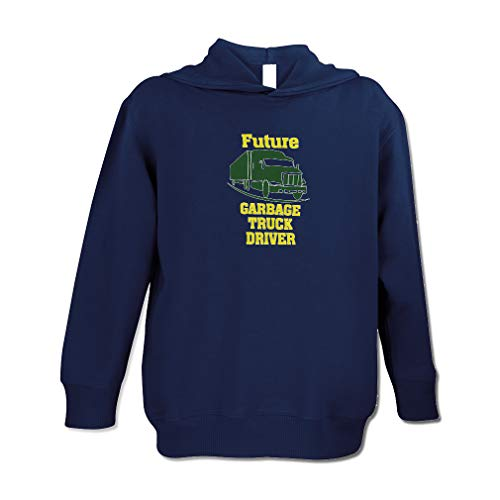 Future Garbage Truck Driver Cotton/Polyester Long Sleeve Boys-Girls Toddler Hooded Fleece Pullover Hoodie - Navy, ()