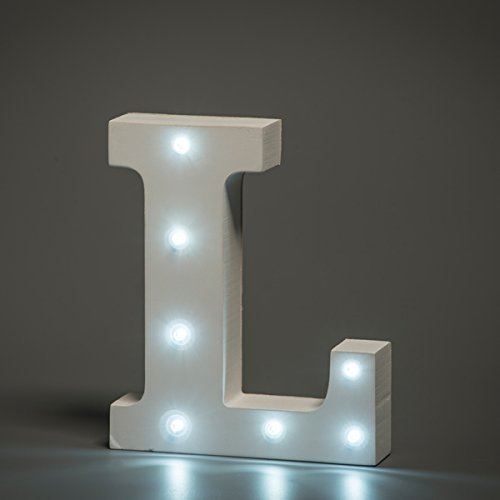 Decorative Light Up Wooden Alphabet Letter,WONFAST White Wood Marquee LED Letter Lights Sign Party Wedding Decor Battery Operated Alphabet (L)