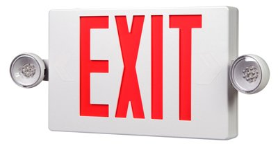 Cooper Lighting APCH7R Self Powered Combination Exit Sign With LED Heads (2) LED White Housing Red Letter Sure-Lites