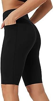 "Rataves Womens Shorts 10"" Workout Yoga Shorts with Pockets High Waisted Athletic Shorts Running Biker Sho"