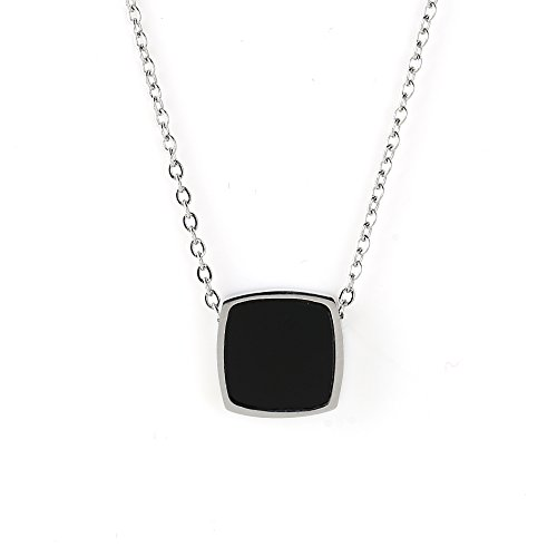 United Elegance Contemporary Silver Tone Designer Necklace with Jet Black Faux Onyx Square Geometric ()