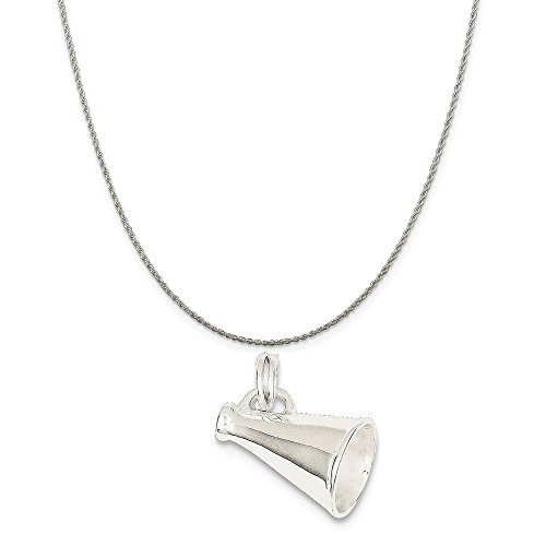 Mireval Sterling Silver Megaphone Charm on a Sterling Silver Rope Chain Necklace, ()