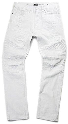 Jordan Craig Men's Biker Jeans Optic White (32x30) by Jordan Craig