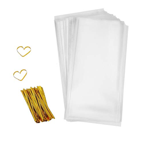Cellophane Goody Bags 200 PCS Clear Cello Treat Bags Party Favor Bags for Bakery Cookies Candies Dessert with 200 PCS Metallic Twist Ties (4 by 9 Inch)]()