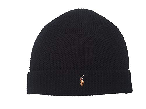 Polo Ralph Lauren Men`s Merino Wool Watch Cap (Black(PP0017-001)/White, One Size) ()