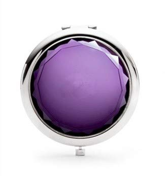 (Mia 2x/1x Jeweled Compact Vanity Mirror, Beautiful, Pretty, Shiny Silver Metal With Large Mirrored Rhinestone Attached, For Women, Girls, Gifts, Travel 1pc (purple))