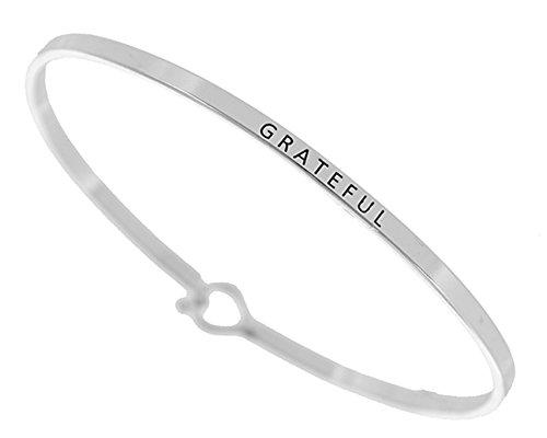 - Story Collection Women's -GRATEFUL- 3mm Message Silver Plated Brass Bangle Bracelets