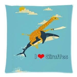 Diy-Hot Funny Giraffe Ride Shark & I Love Giraffe Pillowcase 18X18 Inch Zippered Pillow Cover