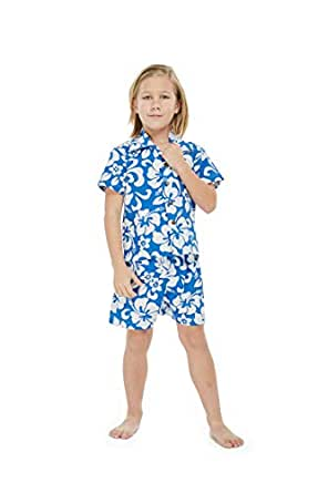 Boy Hawaiian Shirt or Cabana Set in Blue Sunset - Blue - 10, Shirt Only