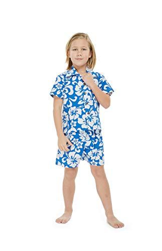 Hawaii Hangover Boy Aloha Luau Shirt Cabana Set in Classic Hibisucs Blue 2 Year Old