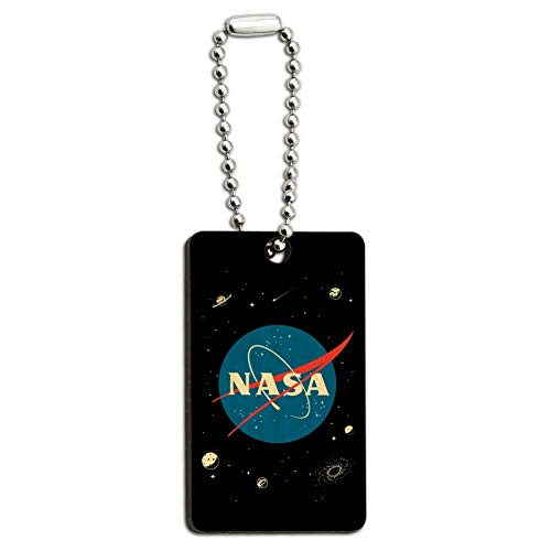 NASA Official Meatball Logo Wood Wooden Rectangle Keychain Key Ring