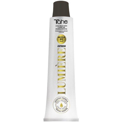 🥇 Tahe Lumière Express Tinte de Pelo Profesional Coloración de Cabello Permanente Tinte Negro Tono1 con Keratina Triónica y Oro Líquido 100 ml