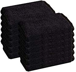 HomeLabels Cotton Salon Towels - Gym Towel Hand Towel - (12-Pack, Black) - 16x26 inches - Ringspun Cotton, Maximum Softness and Absorbency, Easy Care