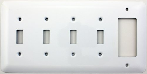 Switch Style Decora (Mulberry Princess Style White 5 Gang Combination Switch Plate - 4 Toggle Light Switch Openings 1 GFI/Rocker Opening)