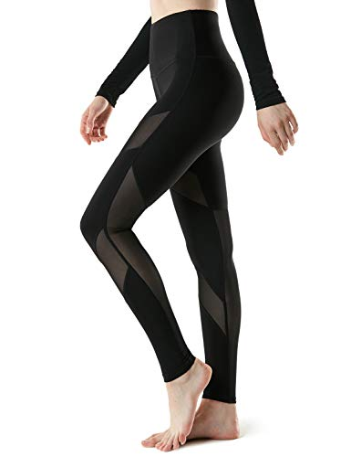 Tesla TM-FYP57-BLK_X-Small Yoga Mesh Leggings Pants High-Waist Tummy Control w Hidden Pocket FYP57