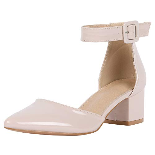 LAICIGO Womens Pointed Toe Pumps Chunky Block Heel Suede Sandal with Ankle Strap