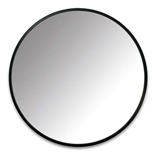 (Mirror - Round Wrought Iron Bathroom, Wall Mounted Vanity, Nordic Style (Color : Black, Size : 60cm))