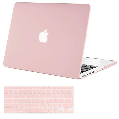 MOSISO Case Only Compatible with Older Version MacBook Pro Retina 13 Inch (Model: A1502 & A1425) (Release 2015 - end 2012), Plastic Hard Shell & Keyboard Cover Skin, Rose Quartz