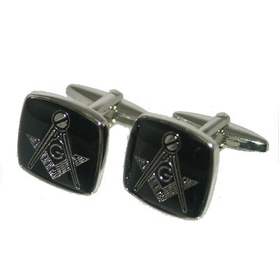 Retail Zone Silver With Square Cufflinks Gift Pouch Masons Masonic Group - Retail Mason Group