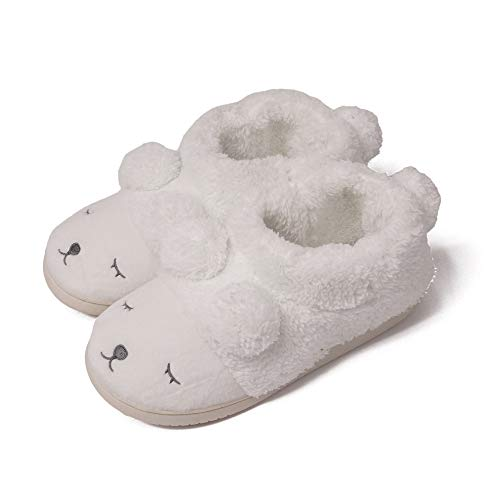 GaraTia Warm Indoor Slippers for Women Fleece Plush Bedroom Winter Boots White High Top 5.5-6.5 (Fluffy Boots White)