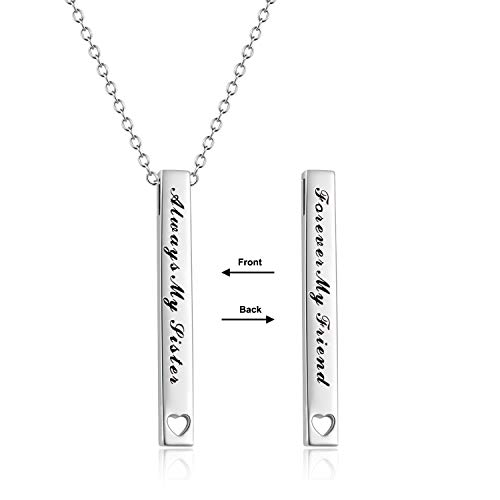 Sister Gifts Sterling Silver Always My sister Forever My Friend Bar Pendant Necklace Jewelry Birthday Gifts for Sisters