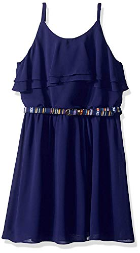 Amy Byer Girls' Big Ruffle Front Chiffon Dress, sea Navy, ()