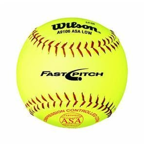 Wilson A9106 ASA Series Softball (12-Pack), 12-Inch, Optic (Wilson Fastpitch Softballs)