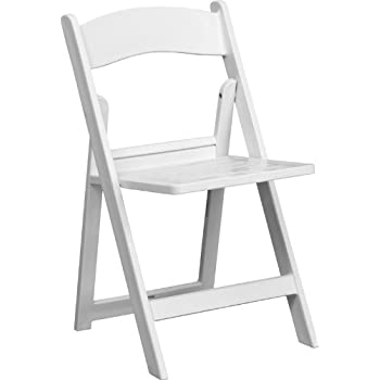 Flash Furniture HERCULES Series 1000 Lb. Capacity White Resin Folding Chair  With Slatted Seat