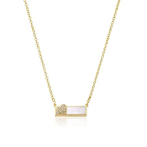 Little Miss Twin Stars Girls' 14k Gold-Plated and Mother-Of-Pearl Bar Chain Accented with Cubic Zirconia Heart Pendant Necklace, 15