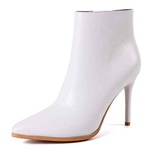 Image of VOCOSI Women's White Leather Ankle Boots Thin Heels Pointy Toe Zipper Daily Wear Booties White 6 US