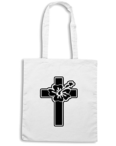 T-Shirtshock - Bolsa para la compra FUN1100 cross hawaiian flower sticker 56939 Blanco