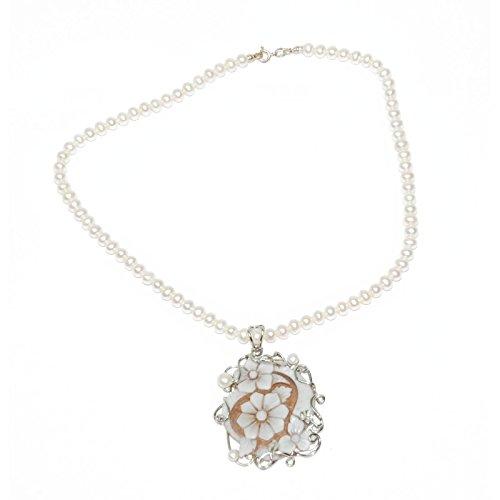 Créations or Collier en argent rhodié avec perles irrégulières, zirconium et camée mario1504