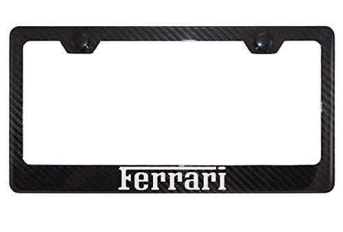 Ferrari Gloss Black Carbon Fiber License Plate Frame with Black Caps