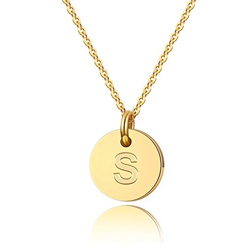 91d974ec5 Turandoss Letter Initial Necklace - 14K Gold Filled Round Disc S Letter  Necklace, Personalized Tiny