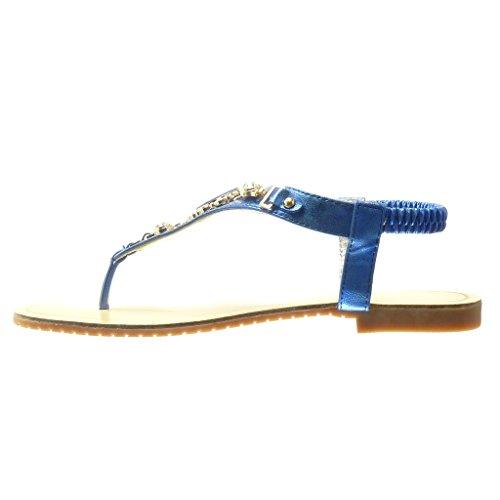 Angkorly - Zapatillas de Moda Sandalias Chanclas correa mujer joyas strass fantasía Talón tacón plano 1.5 CM - Azul