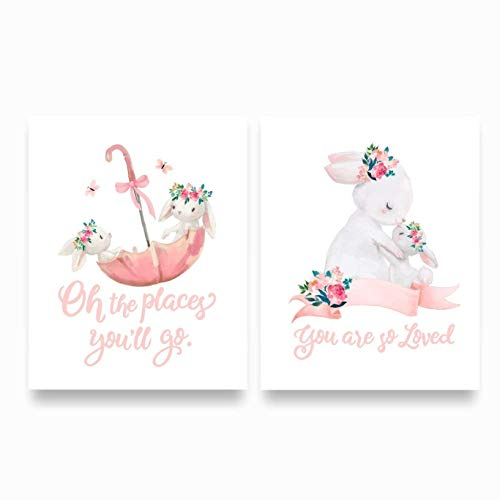 Baby Girl Nursery Quote Wall Decor with Pink & White Bunny, UNFRAMED PRINTS